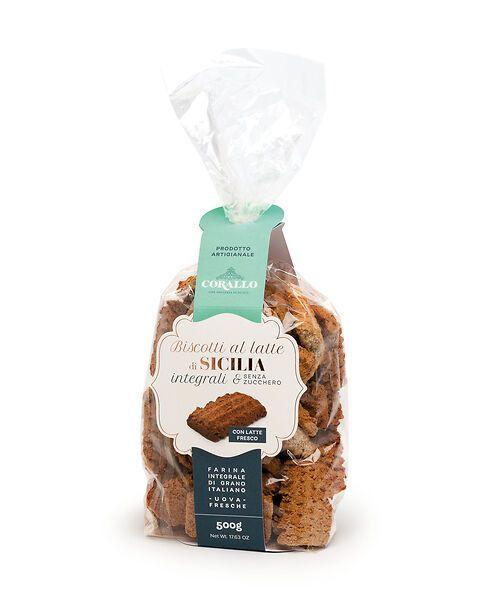 Biscotti al latte di Sicilia integrali e senza zucchero